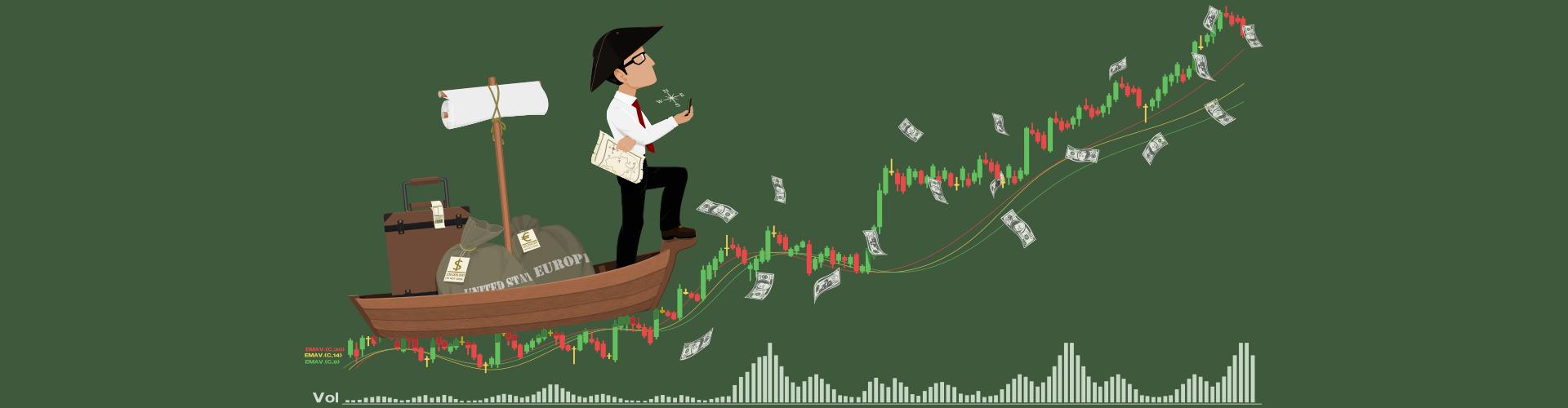 Kursverlauf und Volumen eines EURUSD-Marktes. Trading Performance