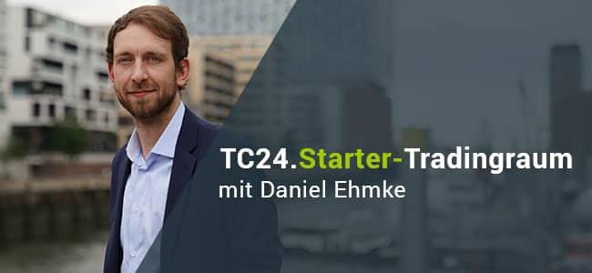 Trading-Coach Daniel Ehmke vom TradersClub24 moderiert den TC24.Starter-Raum und erklärt Clubmitglieder sowie Gästen das Online Trading